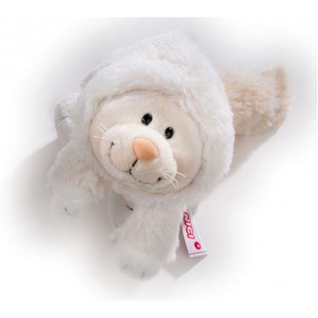 Maskotka Kotka Śnieżna 30 cm leżąca