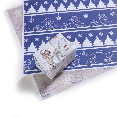 Papier ozdobny A4 + naklejki Koty Śnieżne